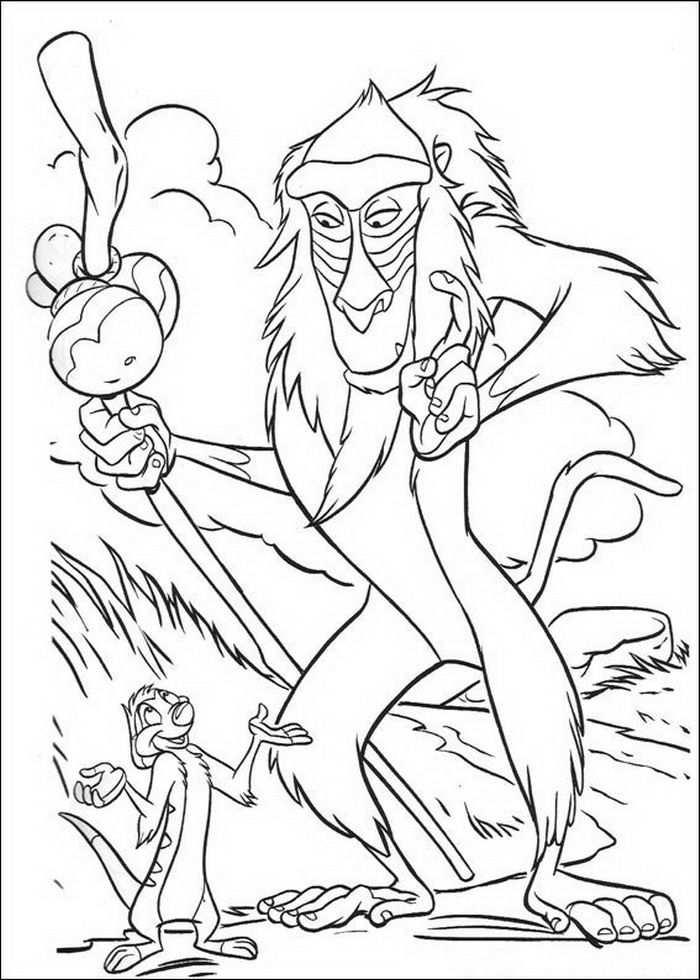 Kleurplaat Lion King Of De Leeuwenkoning Rafiki Praat Met Timon