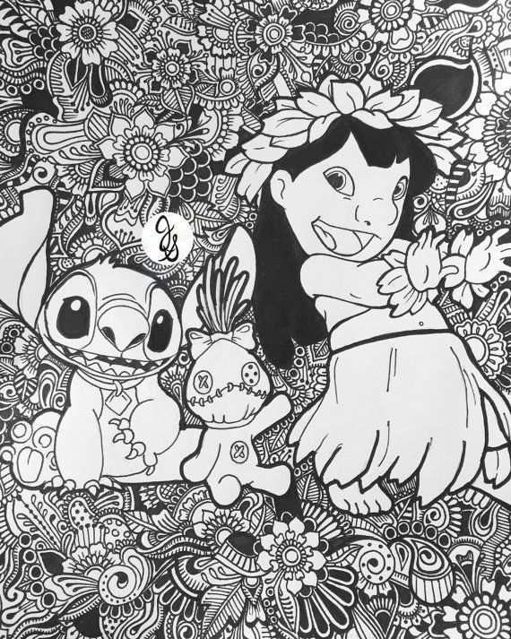 Lilo Et Stitch Design Floral Par Byjamierose Sur Etsy Mandalas