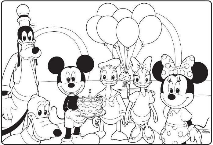 Mickey Mouse Clubhouse Birthday Coloring Page With Images