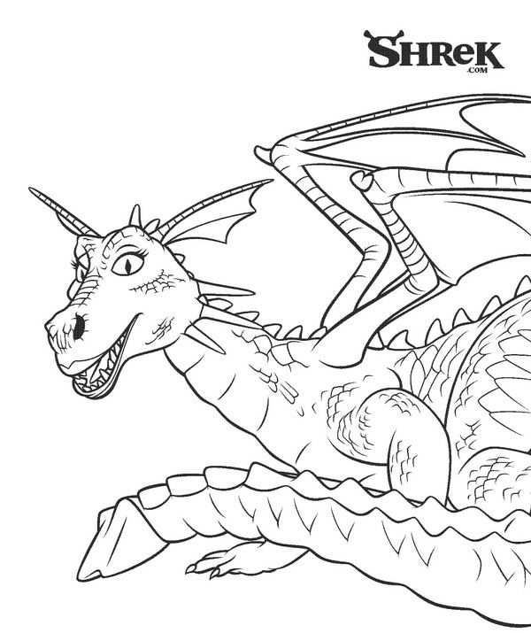 Kleurplaat Shrek 3 De Draak With Images Disney Coloring Pages