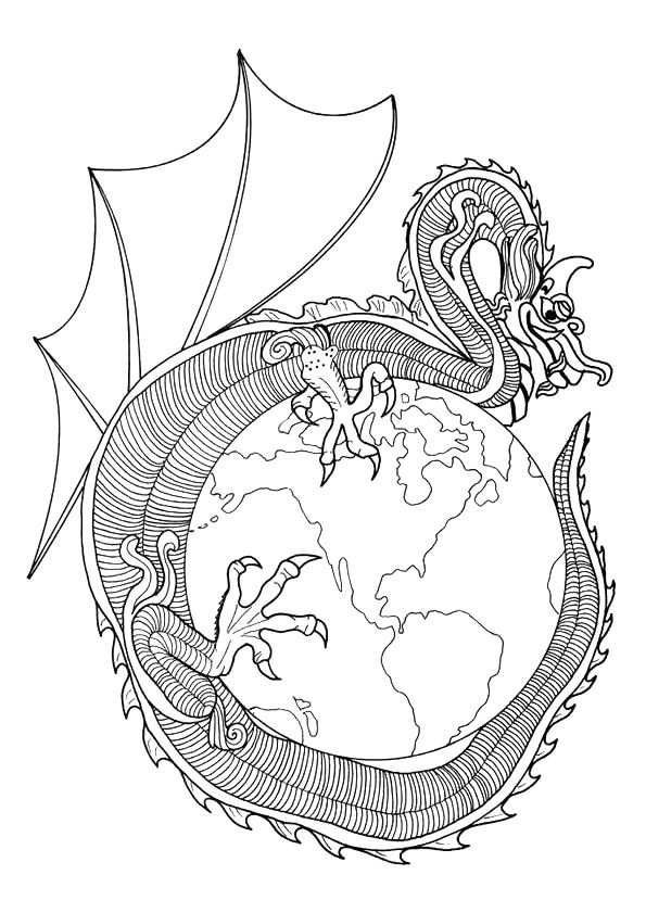 Dragon Curving Around A Globe Met Afbeeldingen Mandala