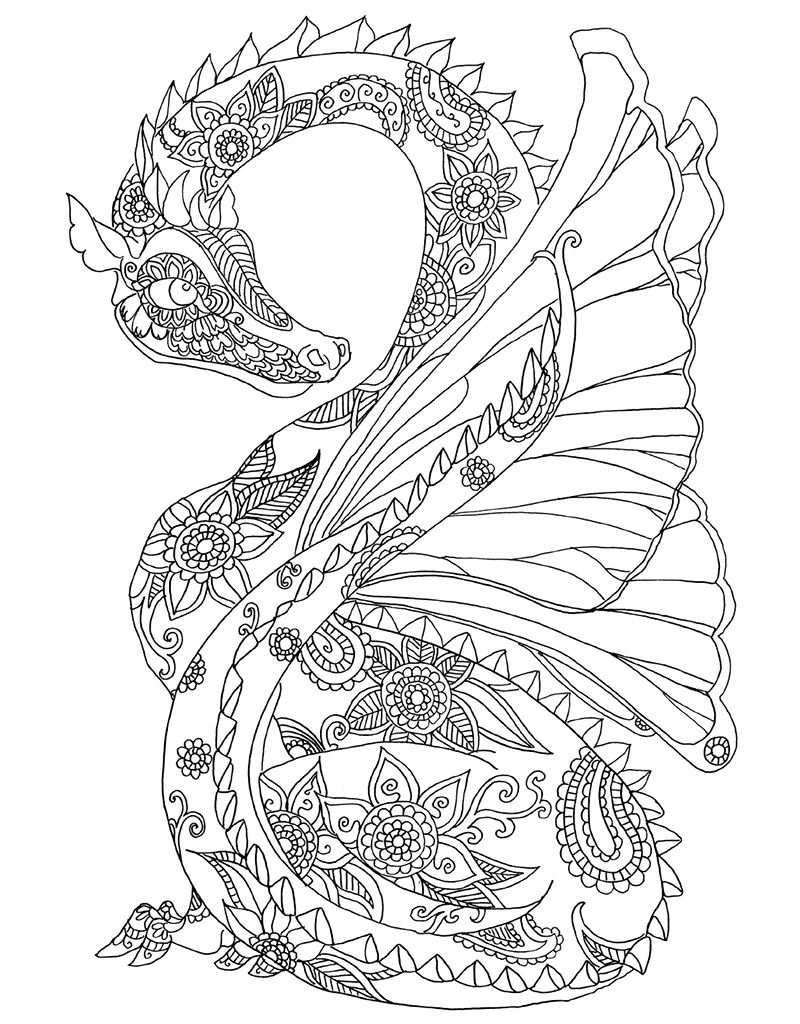 Zendoodle Coloring Majestic Dragons Zendoodle Kleurplaten