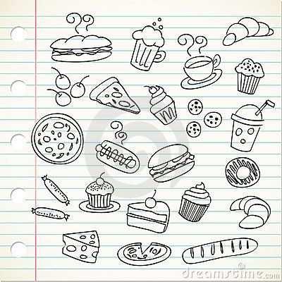 Food Doodle Illustration Voedsel Tekenen Eten Teken Drinken