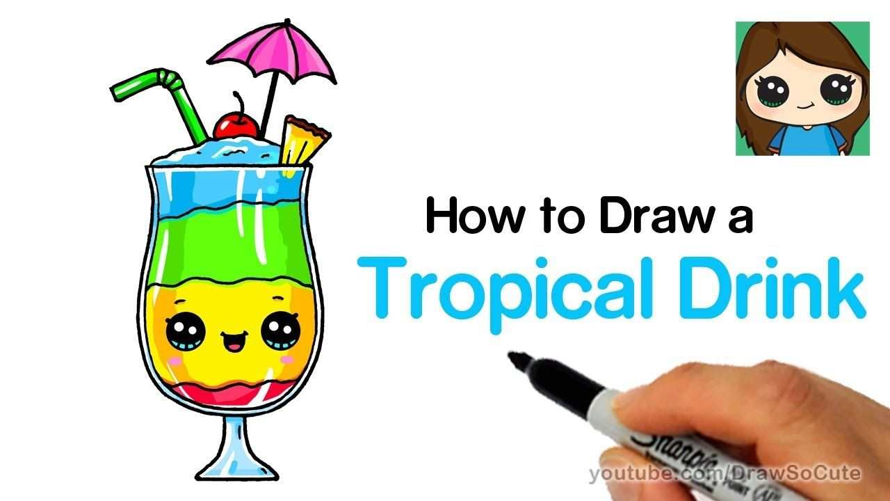 How To Draw A Tropical Drink Easy And Cute Youtube Eten Teken
