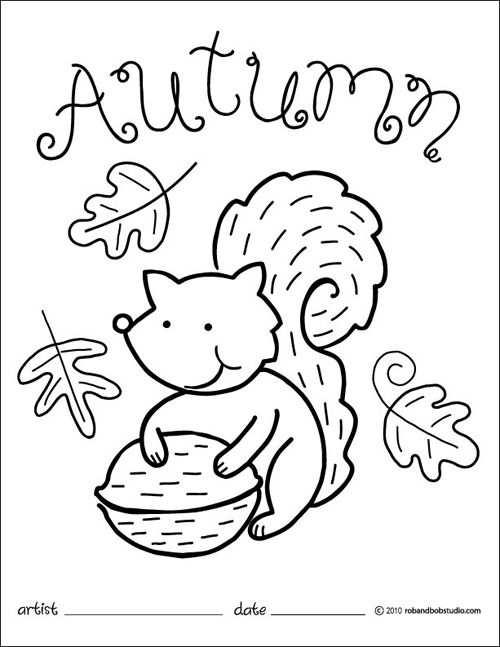 Autumn Squirrel Coloring Page Met Afbeeldingen Kleurplaten