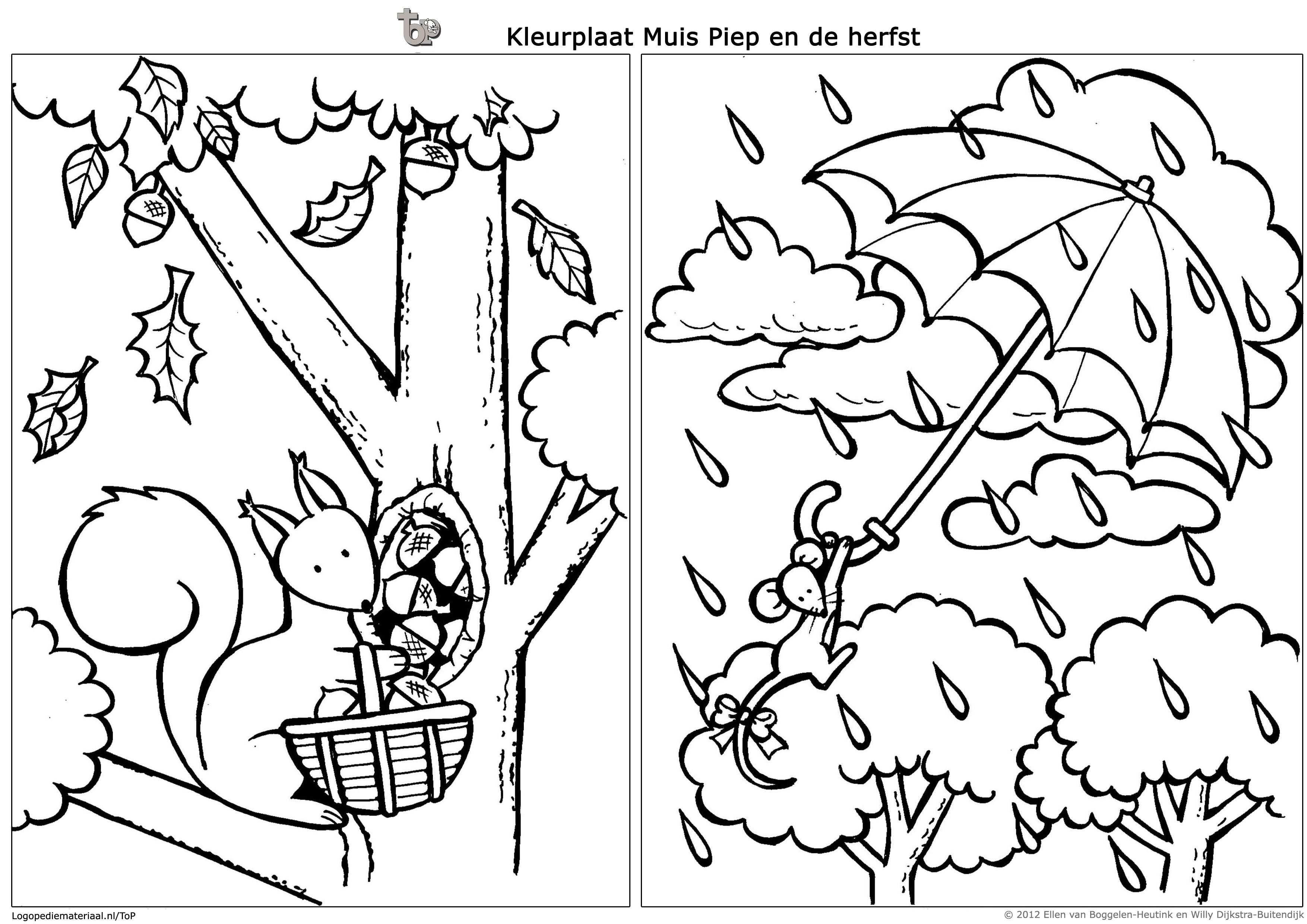 Muis Piep En De Herfst Kleurplaten Kleurboek Eekhoorn
