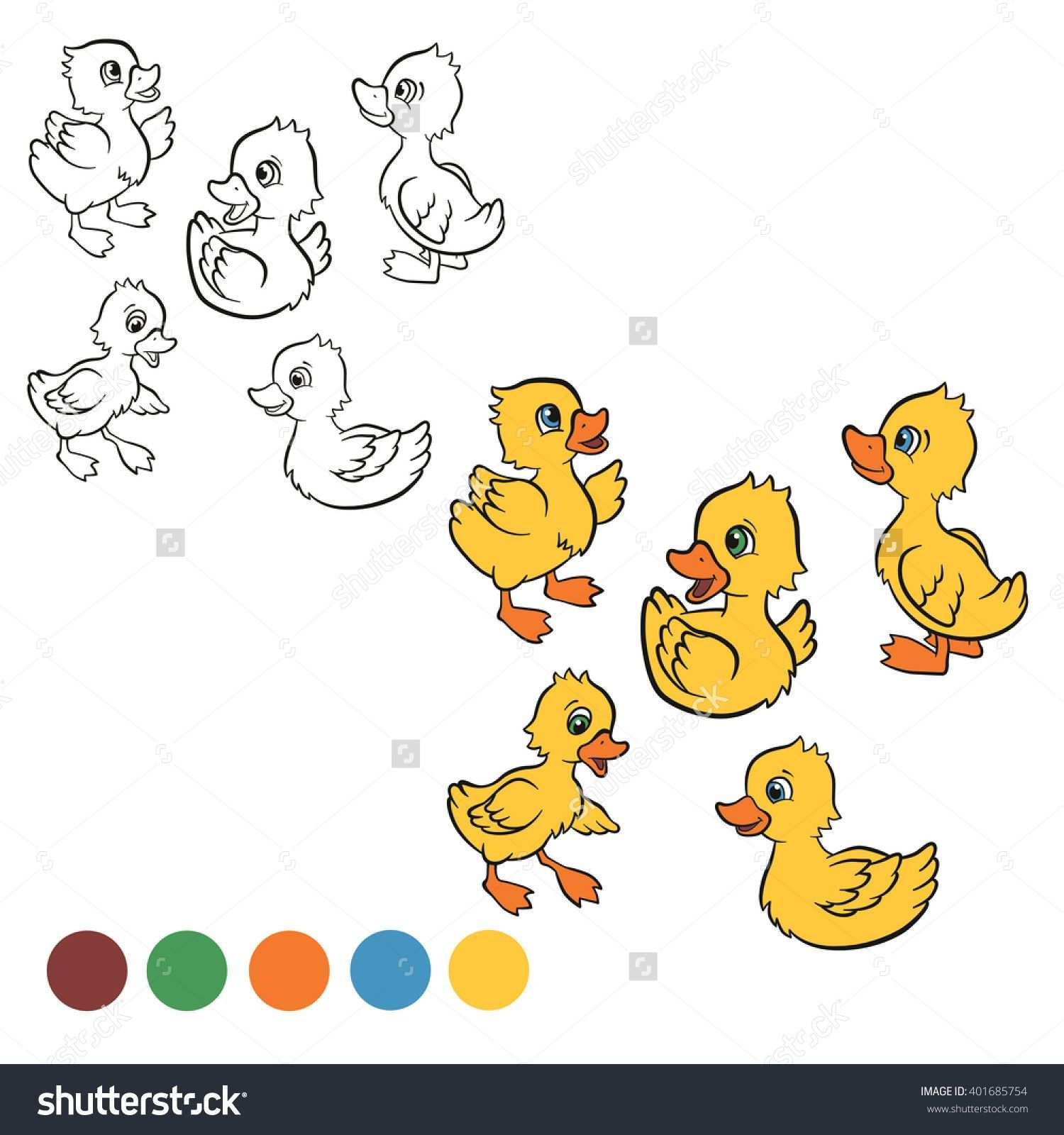 Coloring Page Color Me Duck Five Little Cute Ducklings Swim And