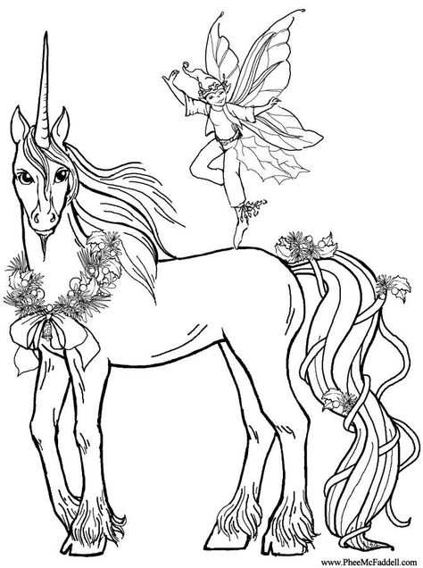 Unicorn And Faerie Drawing Fee Kleurplaten Dieren Kleurplaten