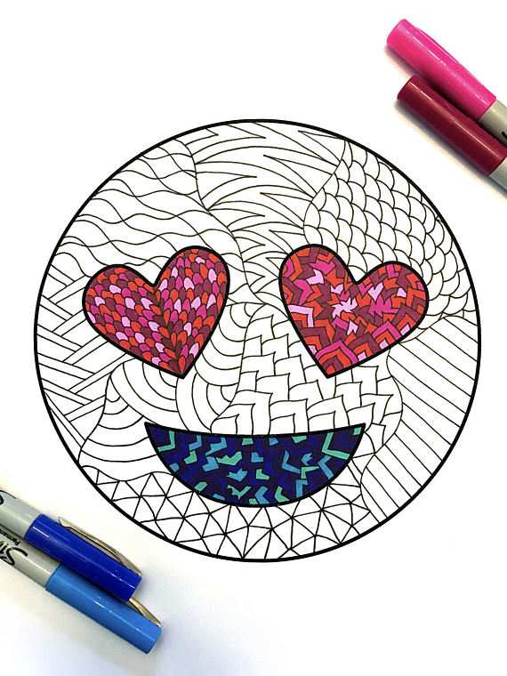 Love Emoji Pdf Zentangle Coloring Page Con Imagenes Emoji