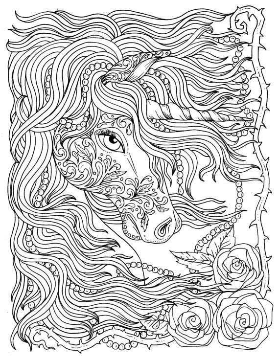 Eenhoorn En Parels Fantasie Kleuren Pagina Volwassen Kleuren