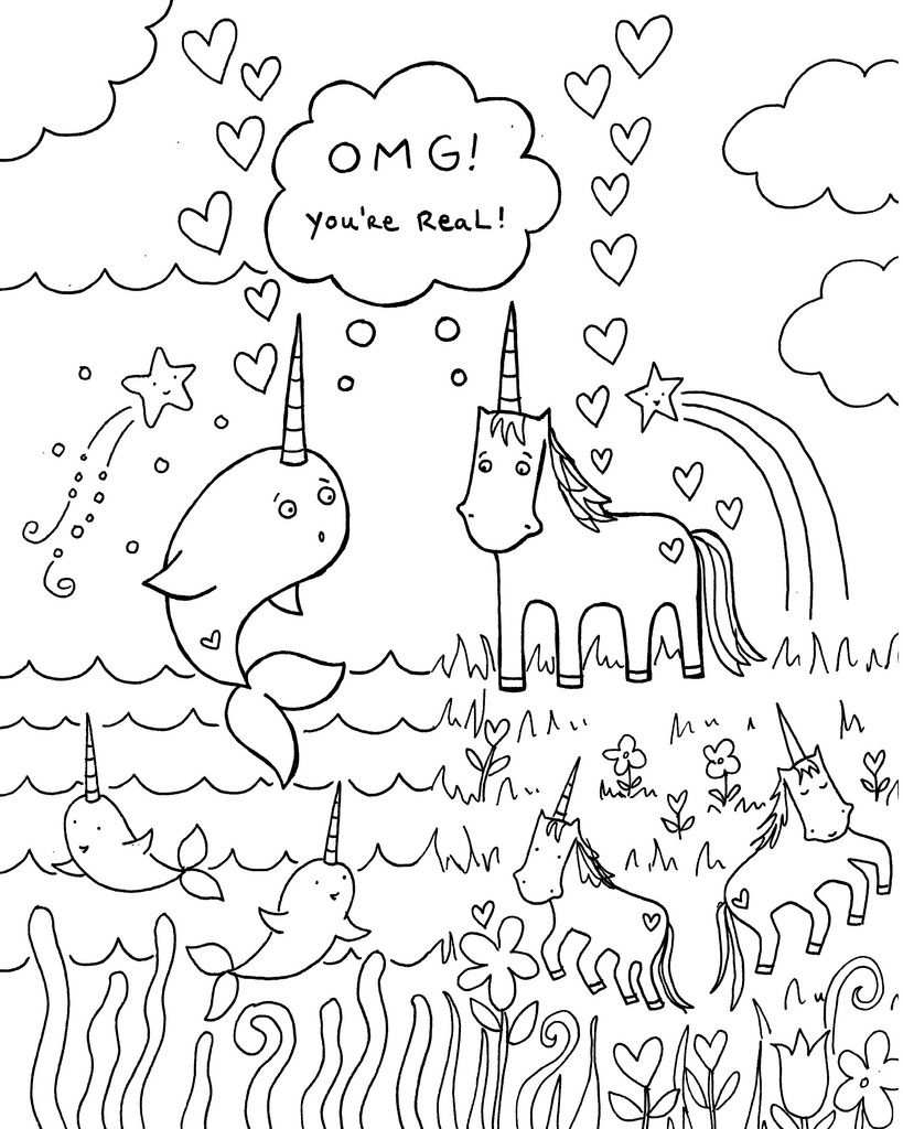 All Sizes Free Download Narwhal Unicorn Coloring Book Page