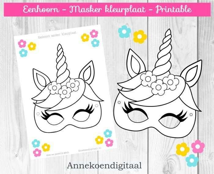 Eenhoorn Masker Kleurplaat Gratis Printable Met Afbeeldingen