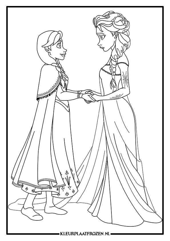 Anna En Elsa Kleurplaat Frozen 3 Jpg 595 842 Princess Coloring