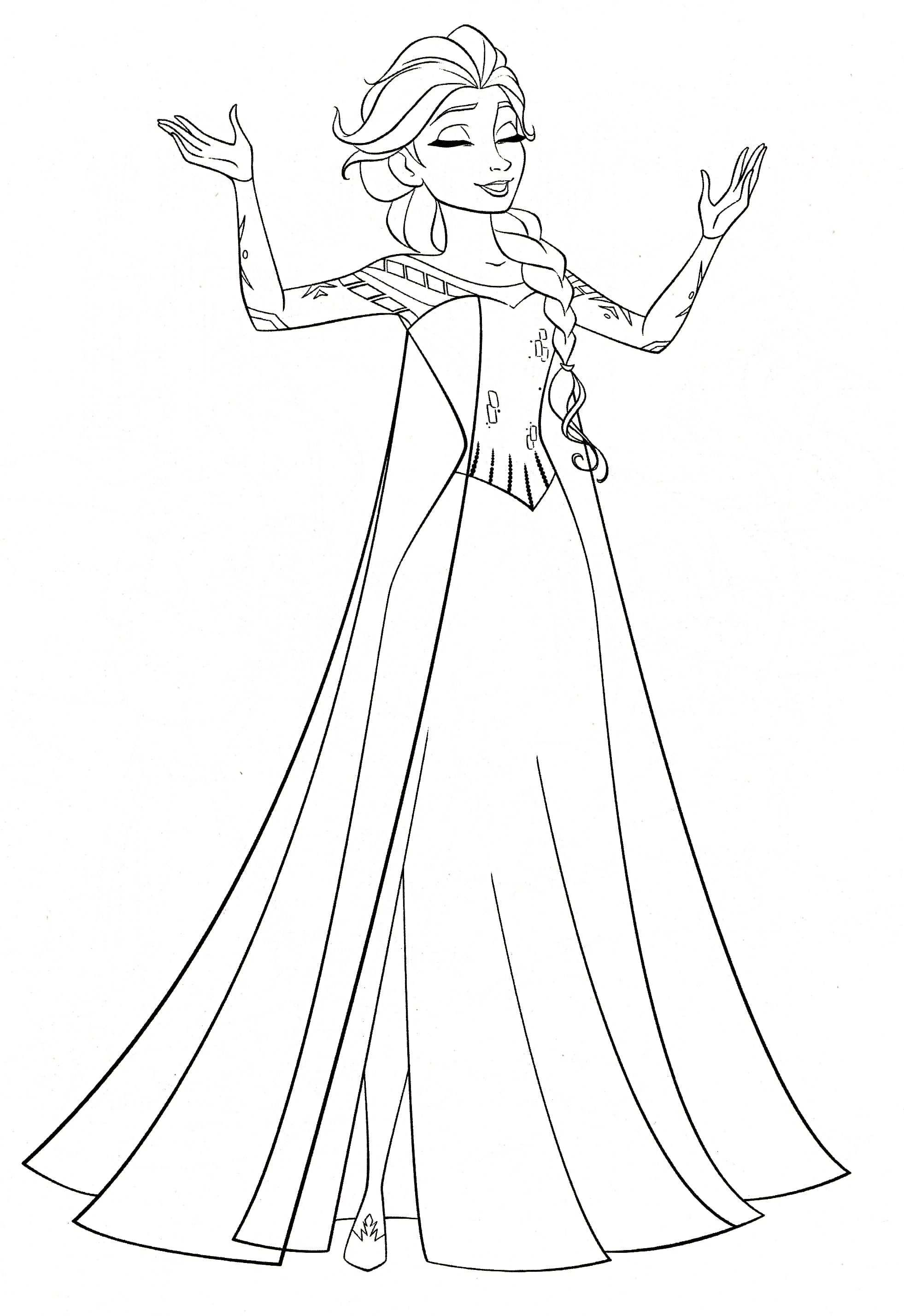 Free Elsa Coloring Pages In 2020 Elsa Coloring Pages