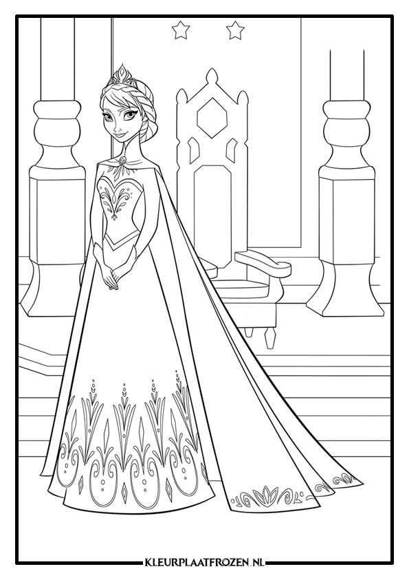 Elsa Kleurplaat Downloaden Met Afbeeldingen Frozen Kleurplaten