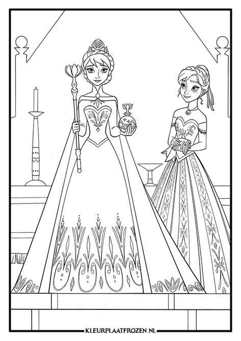 Anna En Elsa Kleurplaat Frozen 3 Jpg 595 842 Princess Coloring