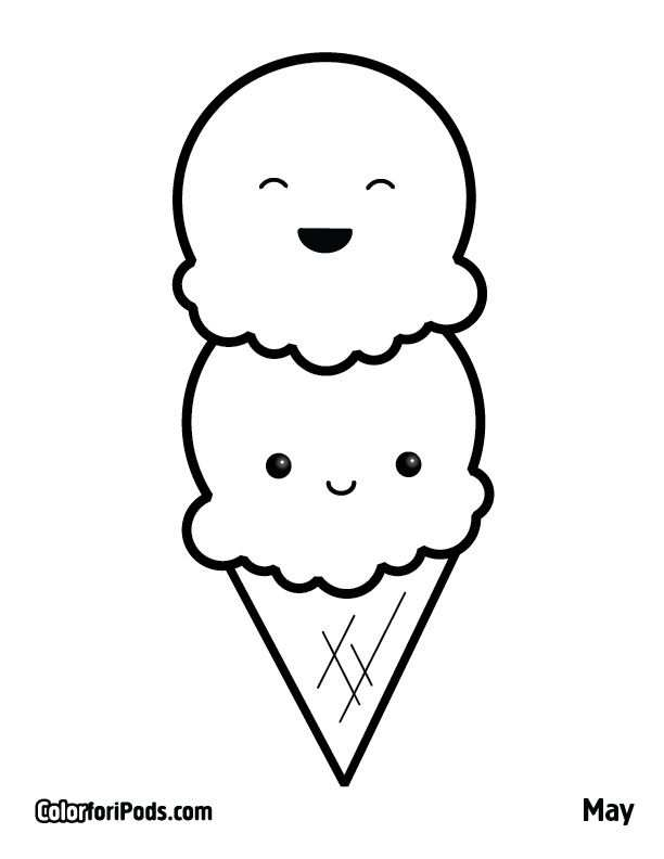 Icecream Colorforipods Cute Coloring Pages Ice Cream Coloring