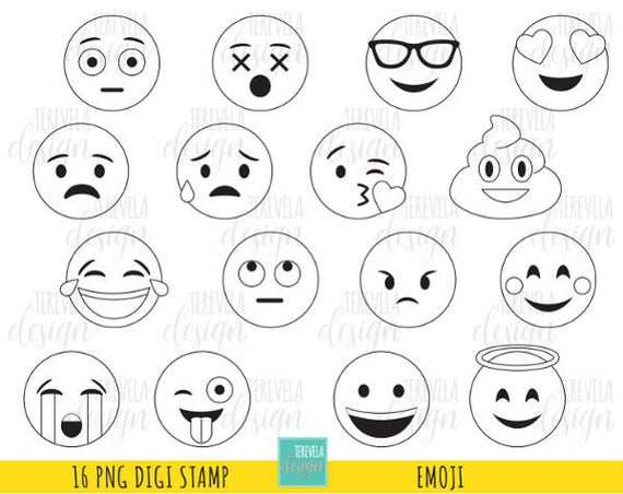 50 Verkoop Emoji Digitale Postzegels Emoticons Digi Stempels Etsy
