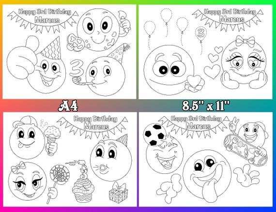 Emoji Kleurplaten Emoji Verjaardag Partij Gunst Pdf Bestand Etsy