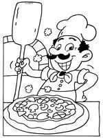 Pizzabakker Kleurplaat Met Afbeeldingen Knutselen Thema Eten