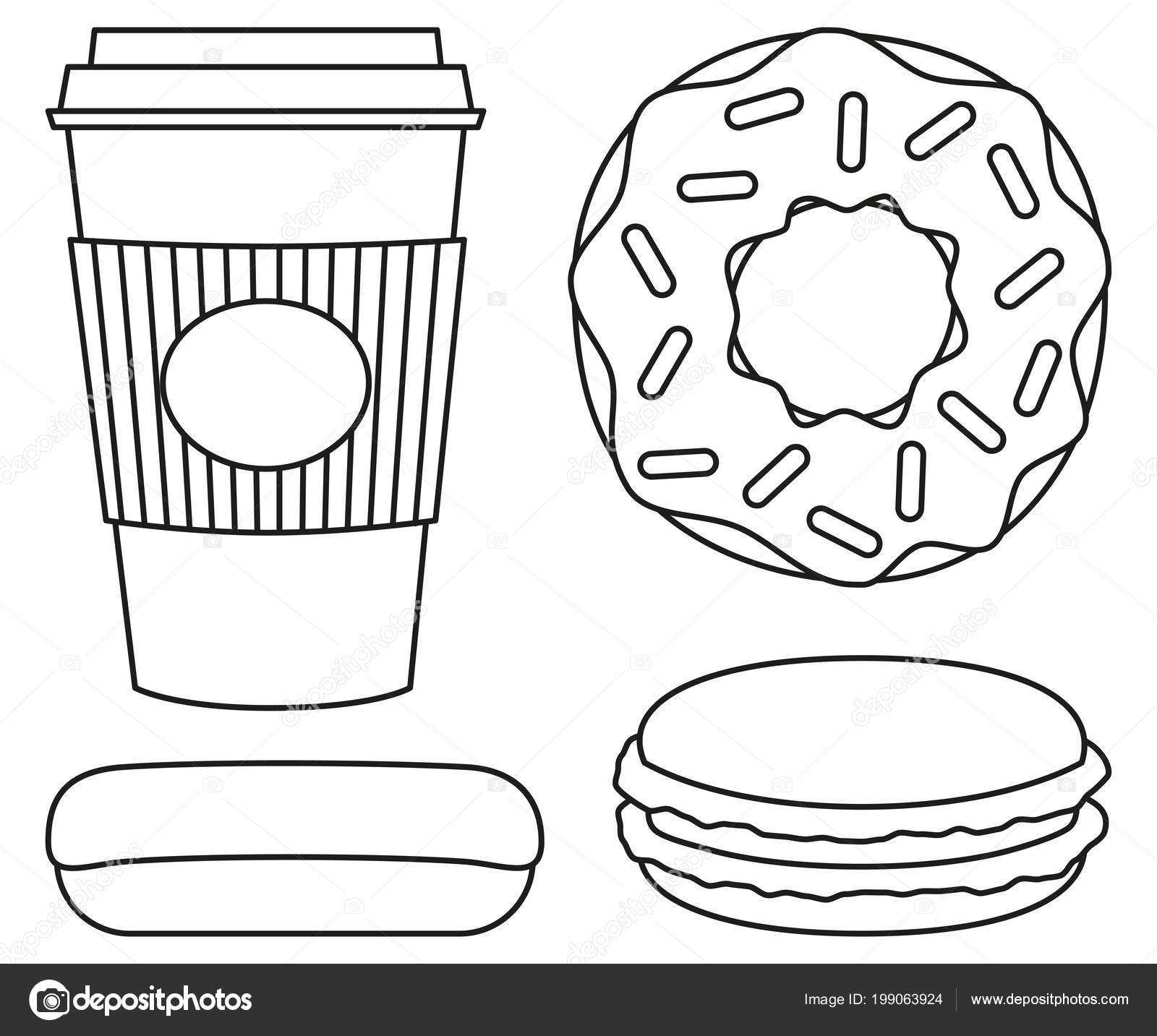 Line Art Black And White Coffee And Donut Set Stock Vector