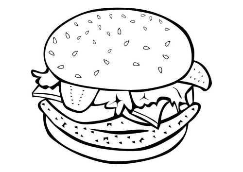 Kleurplaat Hamburger Met Afbeeldingen Kleurrijk Voedsel