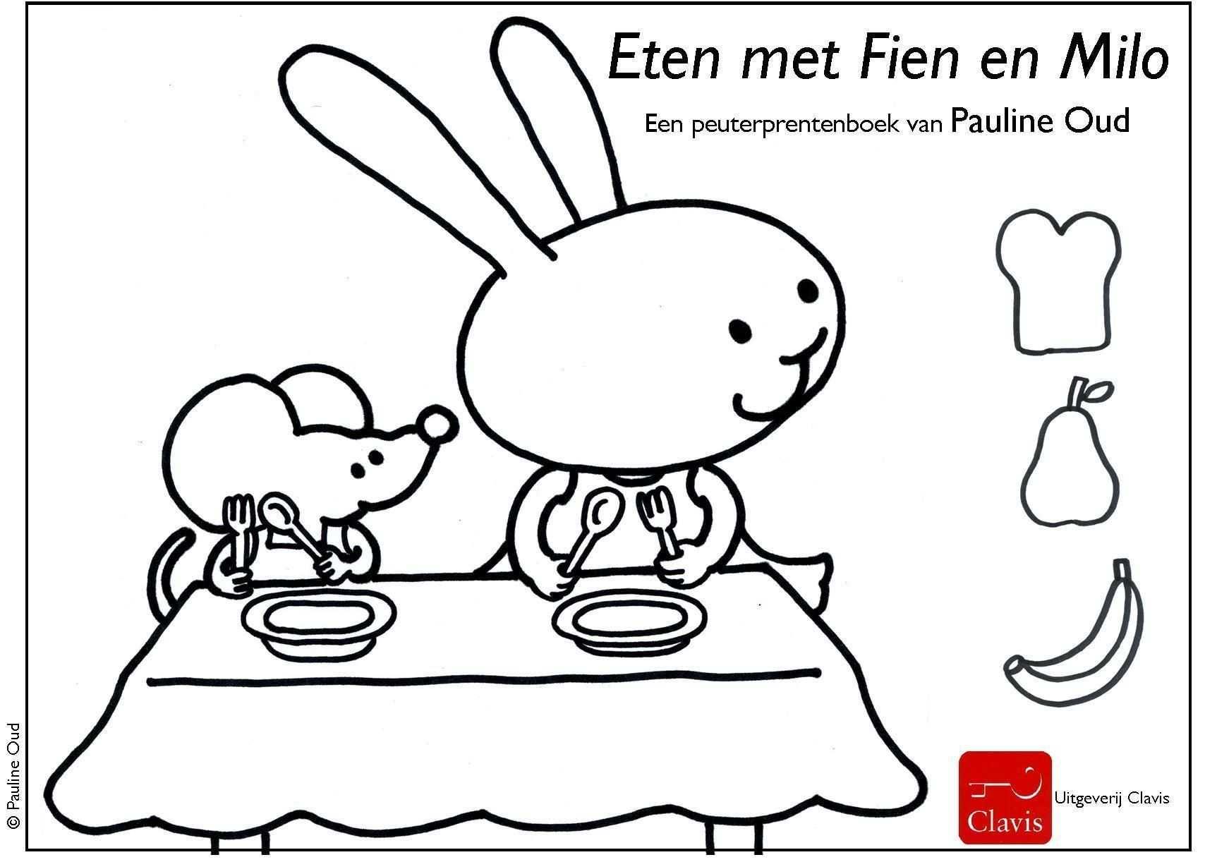 Kleurplaat Eten Met Fien En Milo Pauline Oud Illustraties