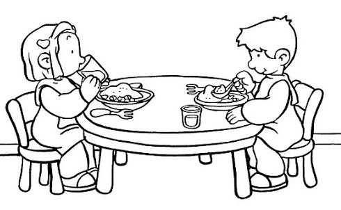 Kleurplaat Eten En Drinken Aan Tafel Kleurplaat Aan Tafel Eten