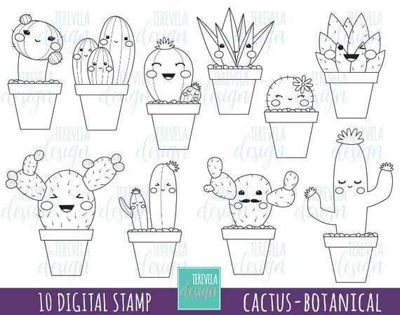 Afbeeldingsresultaat Voor Kawaii Tekenen Cactus Met Afbeeldingen