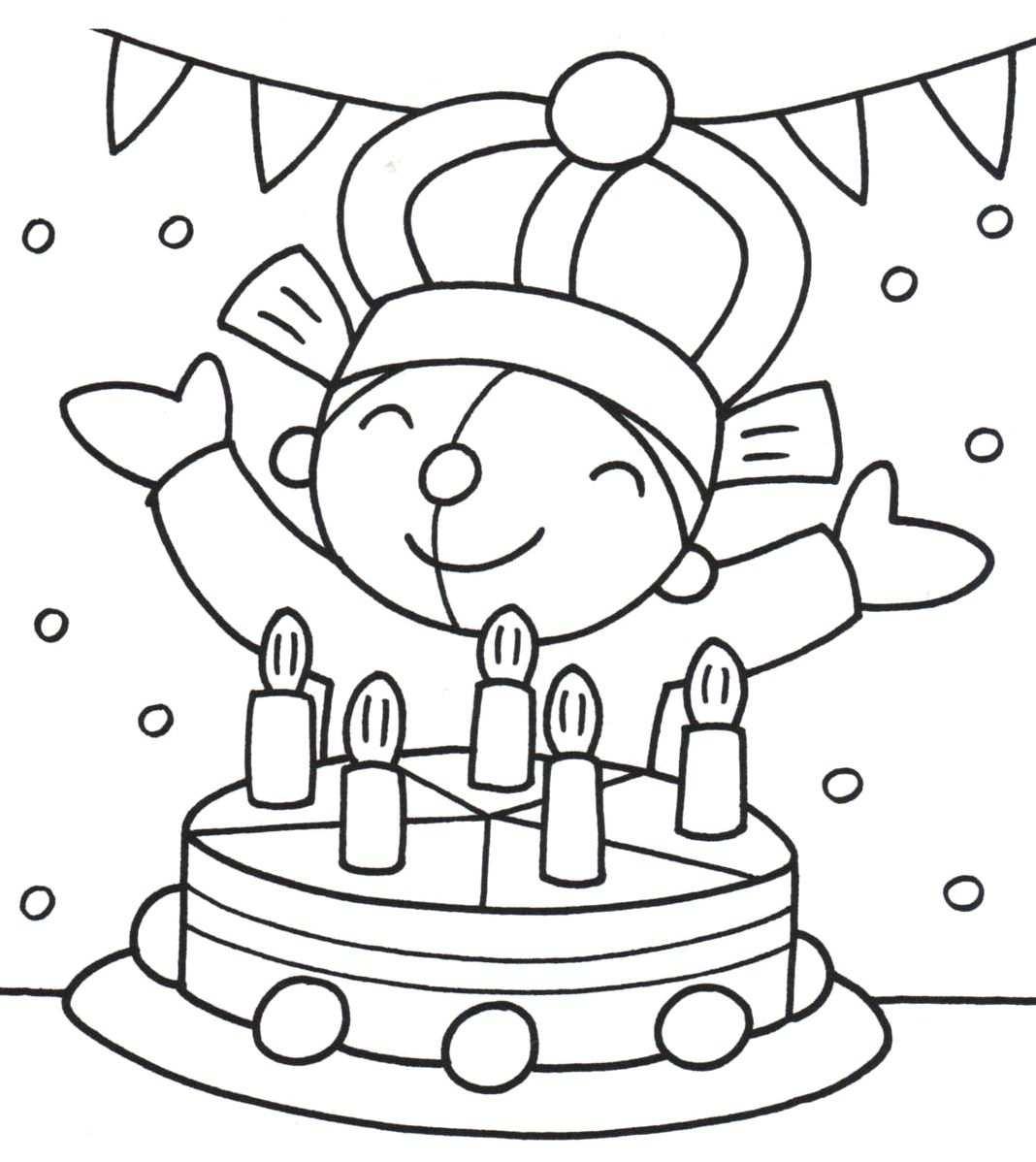 Kleurplaat Pompom Verjaardag Knutselen Met Verjaardag