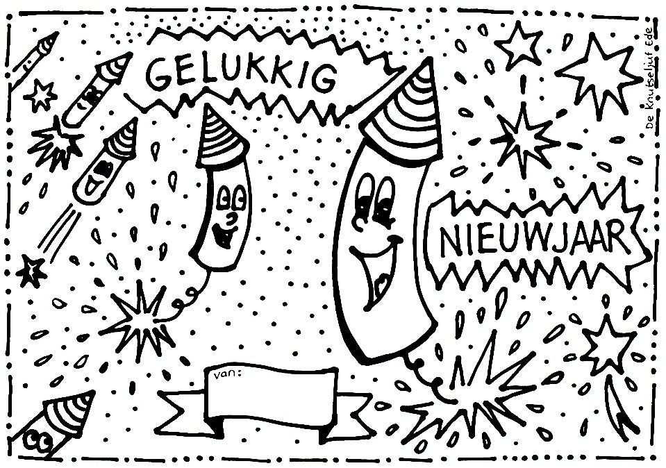 Gelukkig Nieuwjaar Zonder Jaartal Kleurplaat Gelukkig
