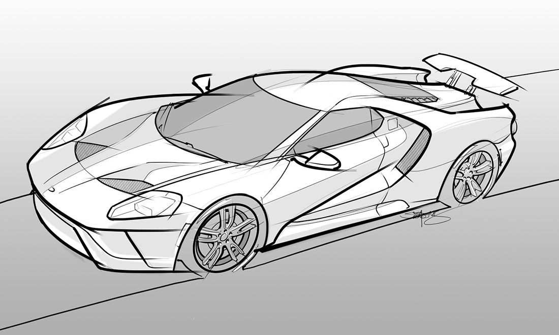 Drawing Of A 2017 Ford Gt Ford Gt Car Sketch Sketches