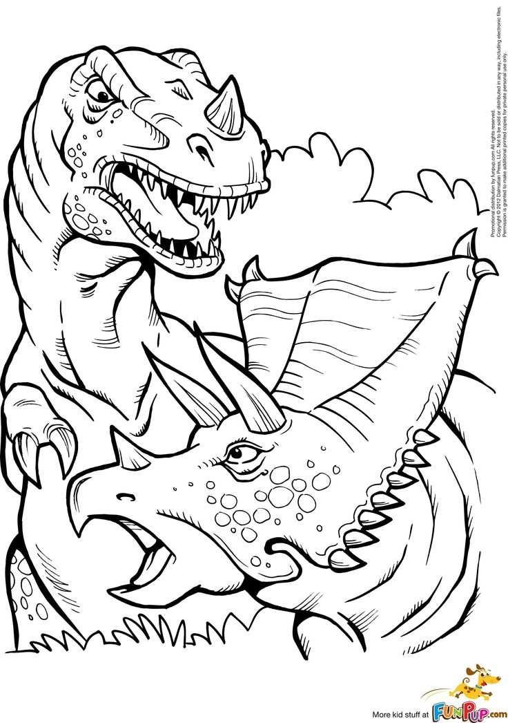 Kleurplaat Printable T Rex And Triceratops Coloring Page Best Of