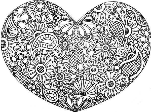 Kleurplaat Hart Valentijn Moederdag Abstracte Kleurplaten