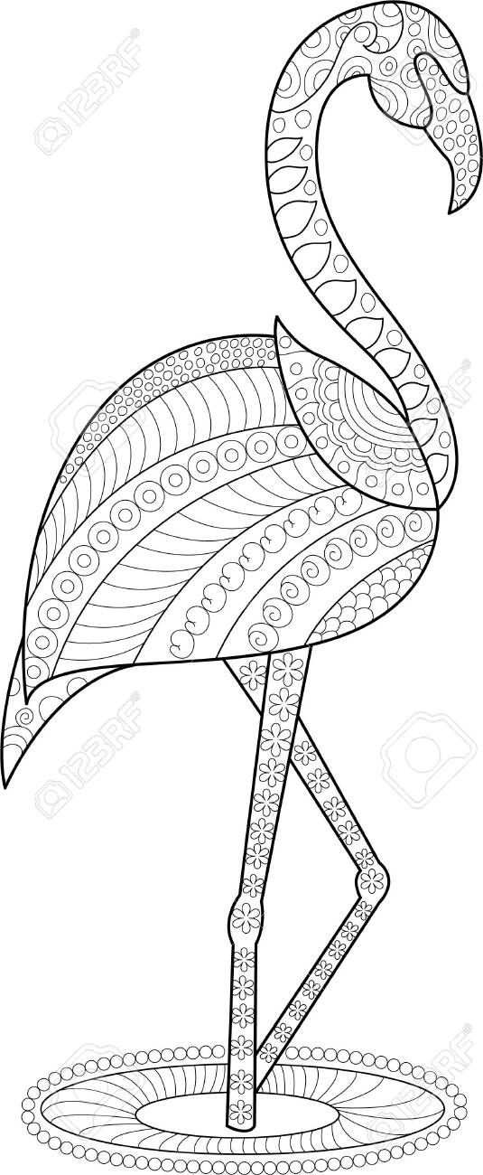 Flamingo Coloring Page For Adults And Children Ad Coloring