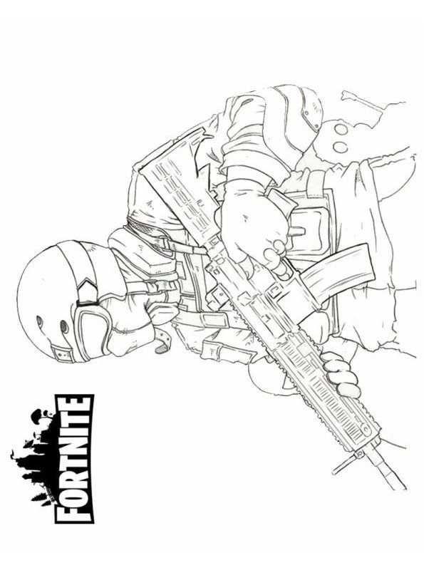 Kleurplaat Fortnite Soldier Fun