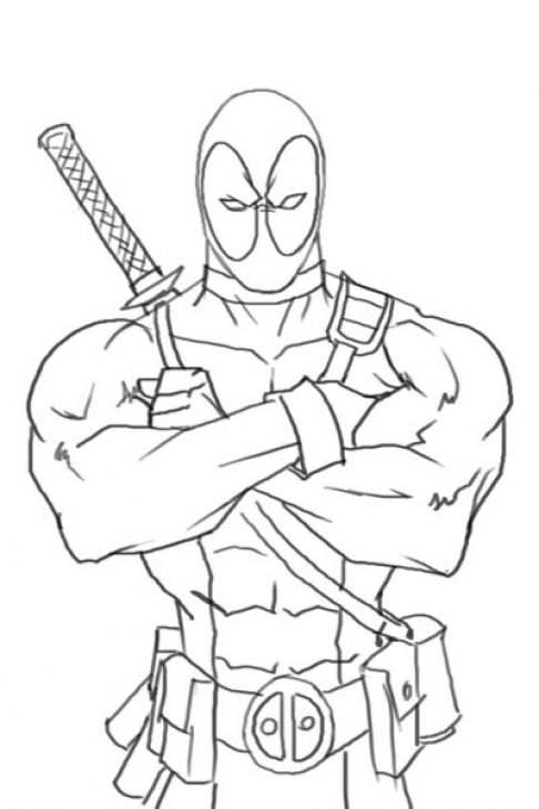 Online Deadpool Coloring Page Free To Print Dibujos Carboncillo