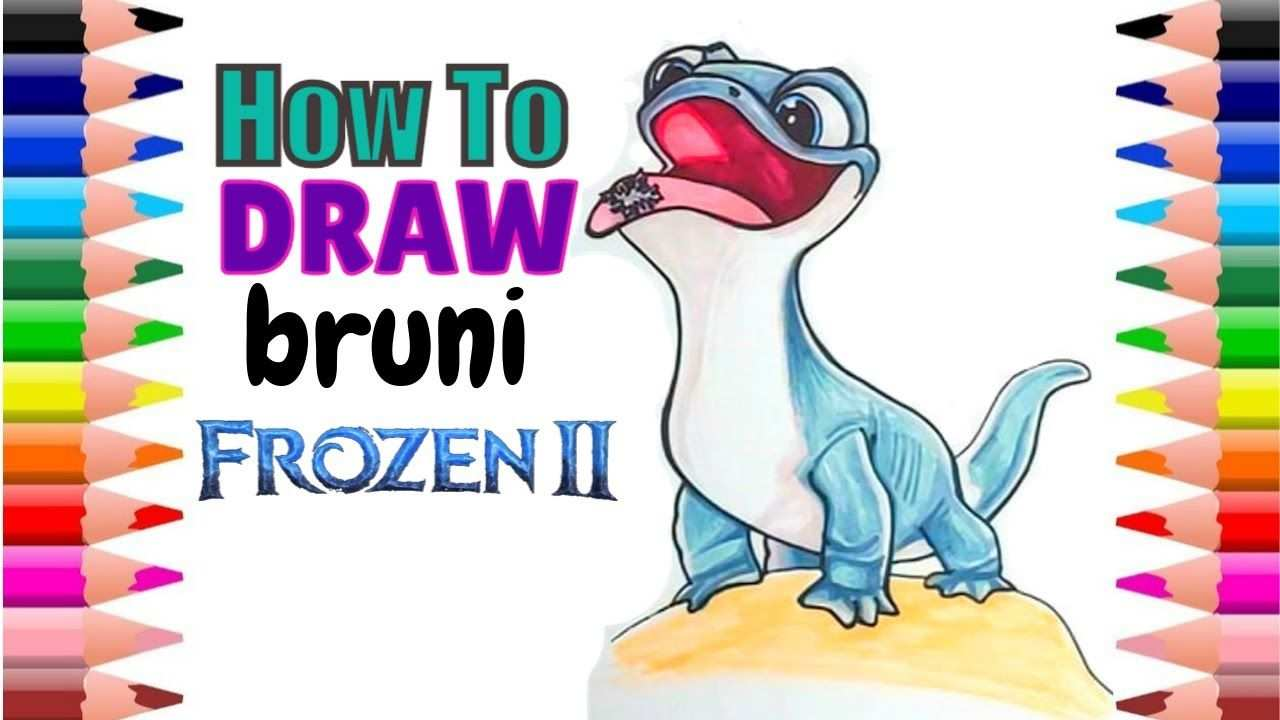 How To Draw Bruni In Frozen 2 Step By Step Easy Bruni Frozen 2