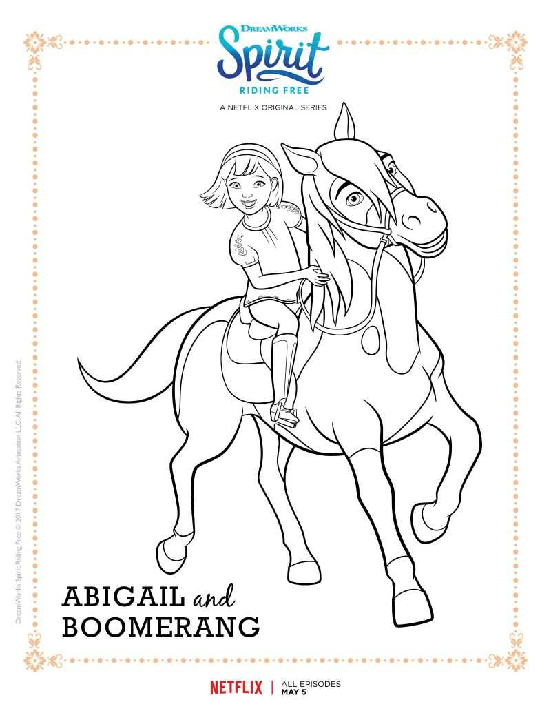 Spirit Riding Free Abigail And Boomerang Coloring Page Paarden