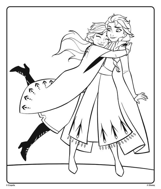 Fans Of The Disney Frozen Movies Can Color This Anna And Elsa