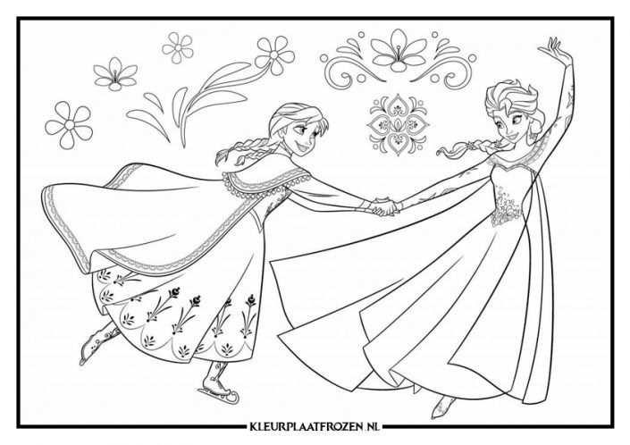 Elsa Anna Kleurplaat Uitprinten Op Kleurplaat Frozen 2020