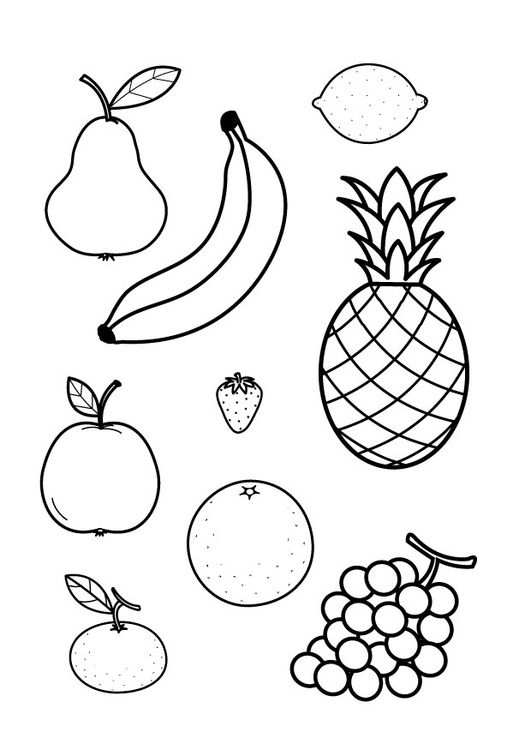 kleurplaat fruit peuters