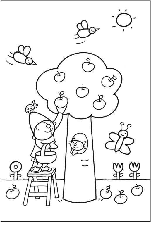Kleurplaat Pompom Appelboom Met Afbeeldingen Kleurplaten