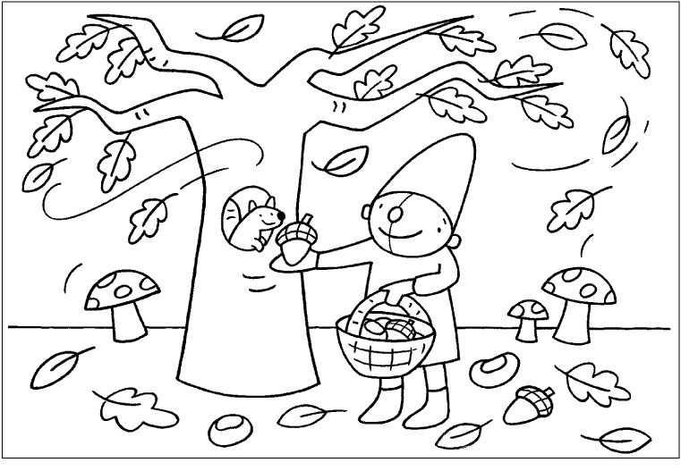 Kleurplaat Pompom Herfst Kleurplaten Herfst Herfst Activiteiten