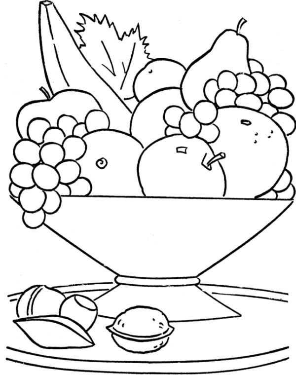 Fresh Fruit In The Basket Coloring For Kids Kleurplaten