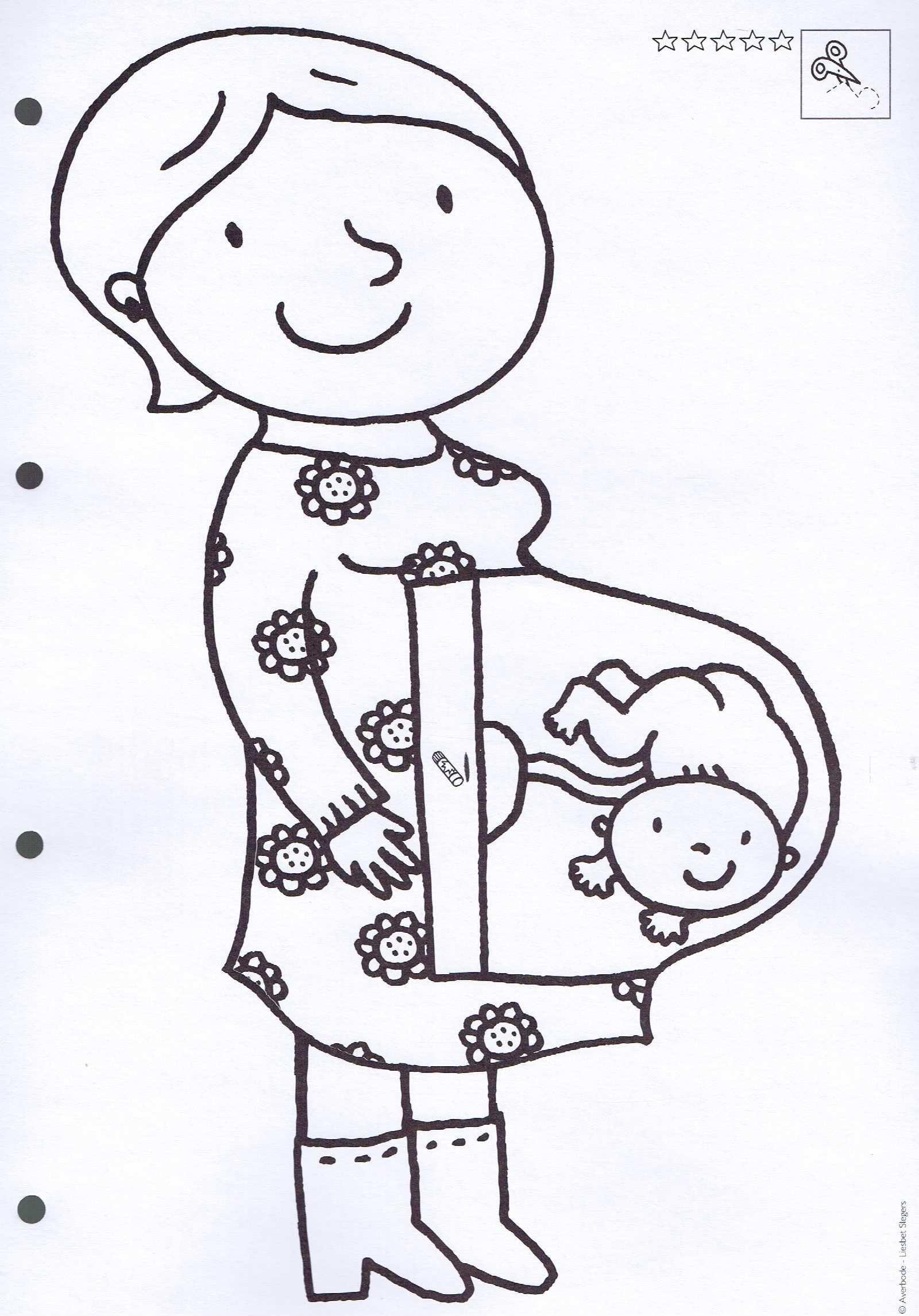 Kleurplaat Zwangere Mama Thema De Baby Knutselen Thema Baby