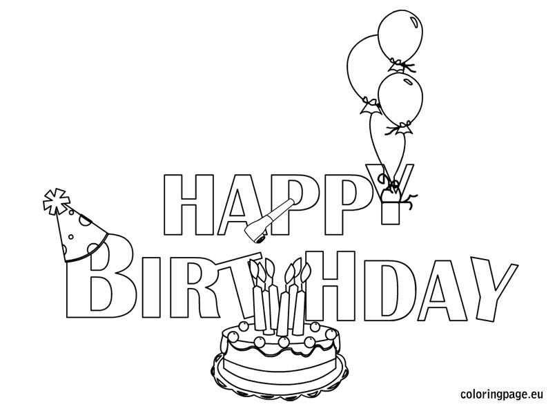 Happy Birthday Coloring Pages Cake Verjaardag
