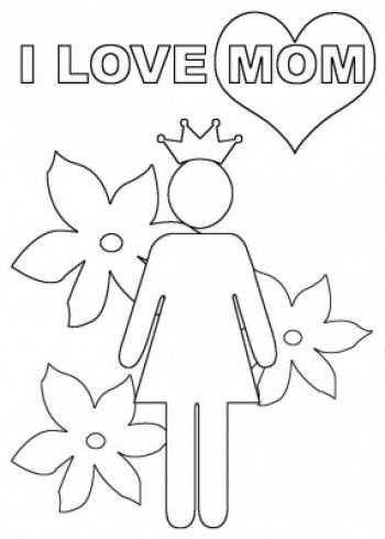 Moederdag Kleurplaat I Love Mom Leuk Om In Te Kleuren En Als
