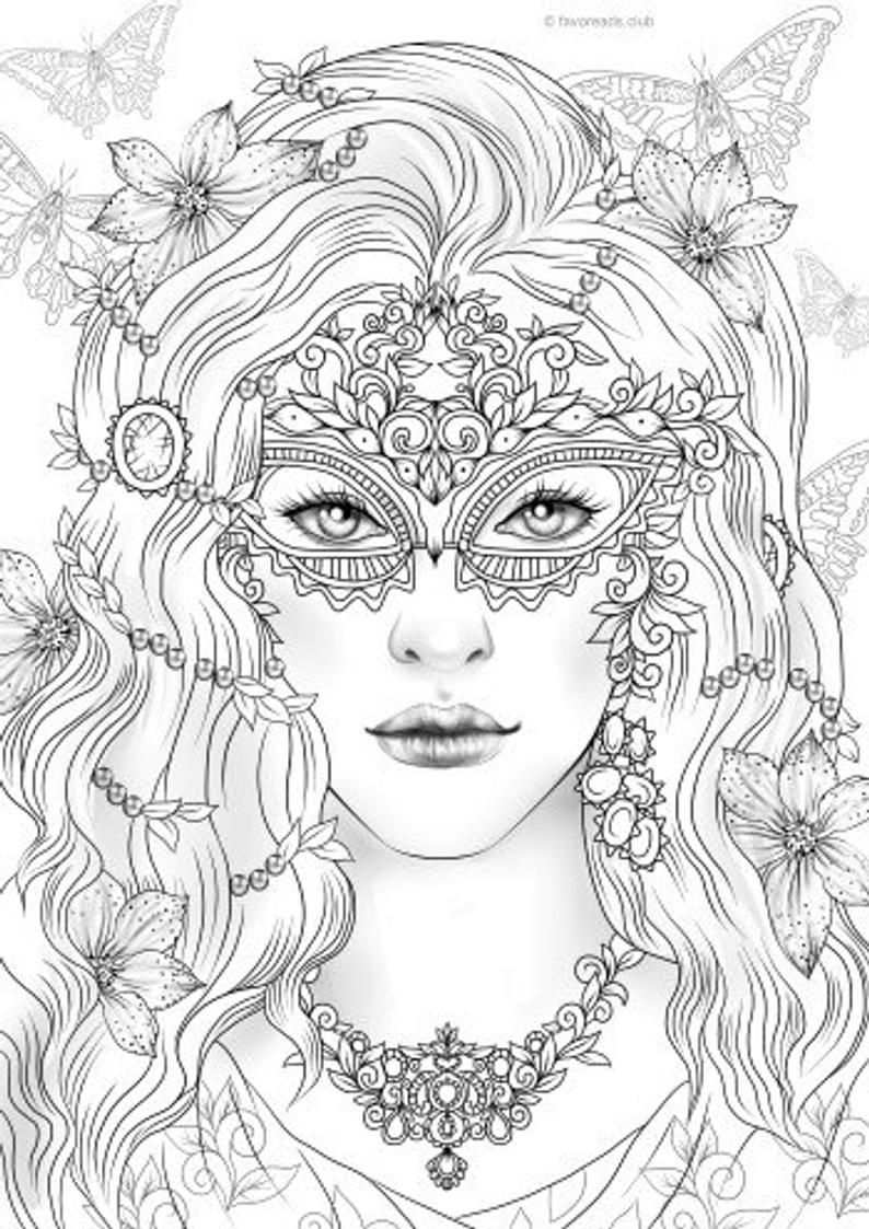 Mask Printable Adult Coloring Page From Favoreads Coloring Book