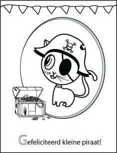 Kleurplaat Verjaardag Piraat Kat Character Art Fictional